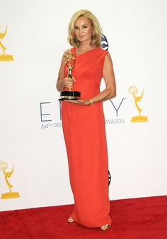 Actress Jessica Lange wearing a J. Mendel Poppy Silk Crepe Asymmetrical Draped Gown. www.jmendel.com