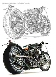 The amount of time and detail that must have gone into creating this motorcycle is astonishing. It was designed down to the smallest parts to push the realistic idea Graphic Design Tools, Graphic Design Tutorials, Art Tutorials, Technical Illustration, Graphic Design Illustration, Digital Illustration, Adobe Illustrator Tutorials, Photoshop Illustrator, Vector Design