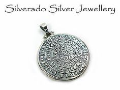 Greek Pendant, Sterling Silver 925 Minoan Phaistos Disc Pendant 35mm Crete Disk