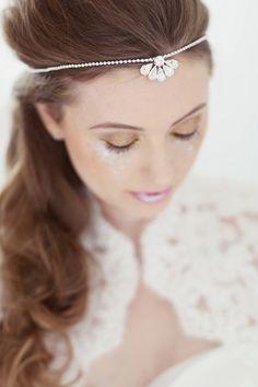 Bridal headdress, wedding bridal forehead band, browband  - Clemise by CorrineSmithDesign on Etsy https://www.etsy.com/listing/202425406/bridal-headdress-wedding-bridal-forehead