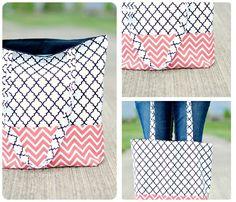5 tasche nähen schnittmuster gratis deutsch stofftasche in weiß rosa und schwarz geometrisches muster Organization, Decor, Pink, Diy Handbag, Striped Fabrics, Bag Tutorials, Small Bags, Threading, Deutsch