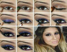 Maquillaje de fiesta con purpurina paso a paso - http://mujeresconestilo.com/maquillaje-de-fiesta-con-purpurina-paso-paso/