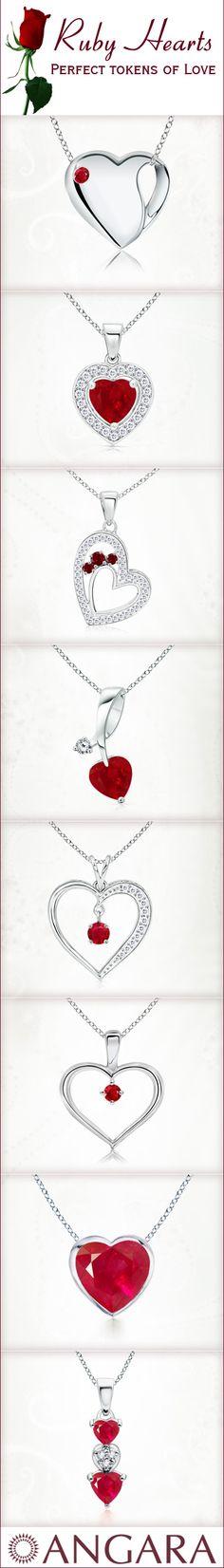 Ruby Heart Pendants  #Angara #valentine