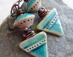 Rustically Mayan ... Rustic Ceramic and Copper Wire-Wrapped Boho, Earthy, Primitive Earrings