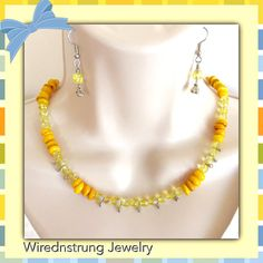 Mother of Pearl Necklace and Earring Set Spring by WirednStrung
