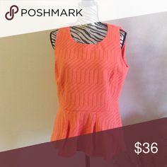 NWT peplum knit top Never worn peplum tank with orange knit fabric Worthington Tops Tank Tops