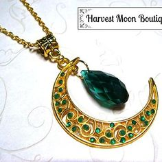 Gold Tone Filigree Crescent Moon Necklace with Green Crystal Bead Wiccan Pagan Celestial Jewelry