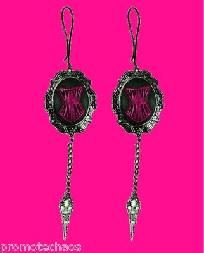 TOO FAST EARRINGS CORSET CAMEO SCISSOR CHARMS Goth Victorian Pink Black Silver 1