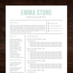 instant download resume template cv template for ms word the emma - Resume Template For Word