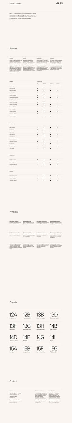 Minimal text-only One Pager listing the services of London-based management consulting firm, 'GRFN'.