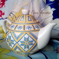 Купить Чайник заварочный фарфоровый. Серия Чайная посуда - чайник, чайник фарфоровый, чайник с росписью