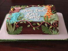 Jungle theme baby shower sheet cake — Baby Shower