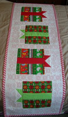 Quilted Christmas Table Runner - Gift Boxes - Red and White - Candy Cane Stripe