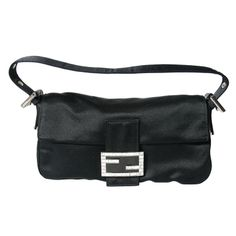 Fendi Black Satin and Crystal Baguette | From a collection of rare vintage handbags and purses at http://www.1stdibs.com/fashion/accessories/handbags-purses/