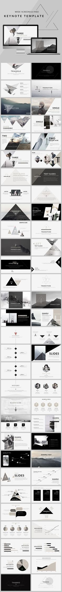 Triangle - Clean trend Keynote Template - Keynote Creative Presentation Template by Ppt Design, Layout Design, Visual Design, Logo Design, Design Agency, Creative Design, Layout Inspiration, Graphic Design Inspiration, Interface Design