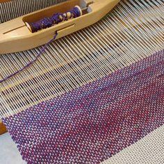 Yay.  Finally #weaving in the new #studio .   Starting with some #handspunyarn and simple plain weave over #cotton #rug warp. (Who needs #yoga when you have a #loom? ) #handweaving #handwoven #wool #yarn #weaversofinstagram #ontario #neustadtontario #canada #oceanwindknits