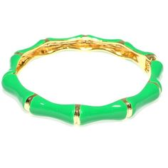 Bamboo Enamel Hinged Bracelet - Green