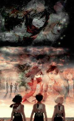 Eren, Armin and Mikasa, Attack on Titan Armin, Eren And Mikasa, Attack On Titan Season 2, Attack On Titan Eren, Attack On Titan Fanart, Manga Anime, Anime Art, Aot Wallpaper, Attack On Titan Aesthetic