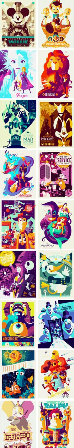 Graphic Disney movie posters by Tom Whalen.