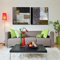 Stretched Canvas Print Art Abstract Sponge Set of 2 – USD $ 59.99
