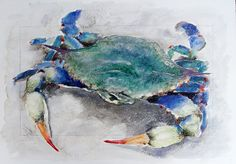 Large Colorful Blue and Green Coastal Beach Crab Watercolor by Clair Hartmann…