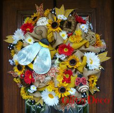 Burlap  BUMBLE BEE and SUNFLOWERS Wreath by decoglitz on Etsy