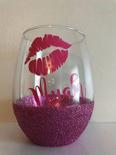 Items similar to Muah Glittered Wine Glass / Lips Wine Glass / Glittered Wine Glass on Etsy Glitter Wine Glasses, Diy Wine Glasses, Painted Wine Glasses, Glitter Bottles, Glitter Cups, Glitter Gel, Glitter Vinyl, Pink Glitter, Wine Glass Sayings