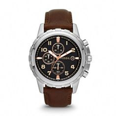 Fossil Men s Chronograph Dean Dark Brown Leather Bracelet and Watch Set - A  Macy s Exclusive Jewelry   Watches - Watches - Macy s 9a31b6107a