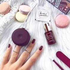 Le Mini Macaron Cassis Gel Manicure Kit Cure Nails, Get Nails, Acrylic Nail Shapes, Acrylic Nails, Mani Pedi, Pedicure, Soak Off Gel, Creative Nails, All Things Beauty
