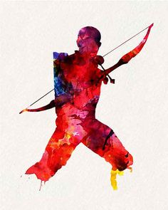 Avengers Hawkeye _ Watercolor Painting Wall by watercolormagazine