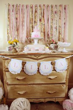 Tea party. Lace, fabric decor.  Great for a granddaughter's birthday party.