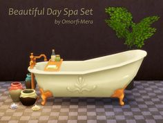 The Sims 4 | omorfi-mera Beautiful Day Spa Set | buy mode new objects misc bath deco