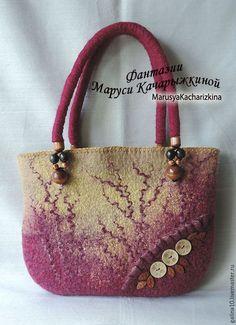 Женские сумки ручной работы. Ярмарка Мастеров - ручная работа. Купить сумка с пуговками. Handmade. Комбинированный, сумка валяная, подкладка