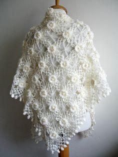 Wedding Wrap Ivory Shawl   Bridal  Shawl with Pearls by crochetlab, $76.00