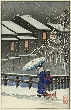 A Walk   in the Snow--Kawase Hasui (published by Postcard prints) #Hasui