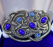 Blue Opal, Turquoise Jewelry, Brooch Pin, Auntie, Pendant, Jewerly, Vintage, Celtic, Brooch