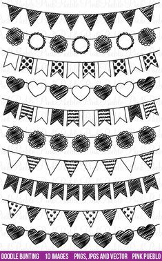 scrapbook ideas Doodle Bunting Clipart Clip Art, Doodle Flags Ribbons Banners Clipart Clip Art - Commercial and Personal Use Ribbon Banner, Banner Clip Art, Doodle Art, Doodle Drawings, Doodle Frames, Small Doodle, Girl Drawings, Cartoon Drawings, Bullet Journal Inspiration
