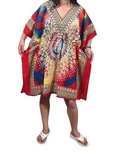 Womans Short Kaftan Caftan Red Printed Lounger Wear Beach Coverup Tunic Tops Mogul Interior http://www.amazon.com/dp/B0136NSRZM/ref=cm_sw_r_pi_dp_ow0Wvb17PMBFV