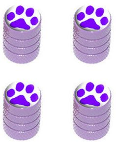 """Amazon.com : (4 Count) Cool and Custom """"Diamond Etching Paw Print Top with Easy Grip Texture"""" Tire Wheel Rim Air Valve Stem Dust Cap Seal Made of Genuine Anodized Aluminum Metal {Lavender Mazda Purple and White Colors - Hard Metal Internal Threads for Easy Application - Rust Proof - Fits For Most Cars, Trucks, SUV, RV, ATV, UTV, Motorcycle, Bicycles} : Sports & Outdoors"""