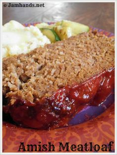 Amish Meatloaf - substituted the 2lb beef with 1lb of chicken mince and added chopped carrots and celery.  Whole family loved it - very rare!