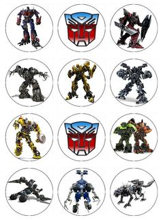Edible TRANSFORMERS  Cupcake Toppers 12 edible images for Cupcakes, cookies, brownies or any dessert birthday. $6.00, via Etsy.
