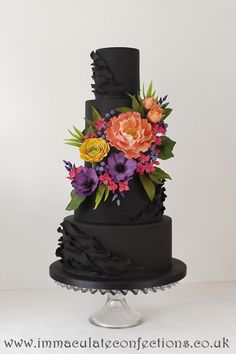Black Floral Wedding Cake Wedding Cakes - Award Winning Cakes by Natalie Porter - Hertfordshire, London and Essex #wedding #weddingcake #sugarflowers
