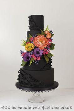Black Floral Wedding Cake Wedding Cakes - Award Winning Cakes by Natalie Porter - Hertfordshire, London and Essex #wedding #weddingcake #sugarflowers