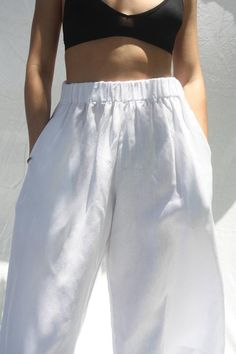 Linen White Leg Pants, Womens Linen Pants, Quality Linen Pants, Elastic waist Linen Pants, Comfortab