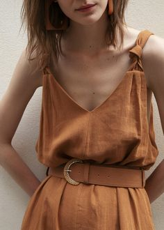 Caramel Belted Jumpsuit with Knotted Straps – The Frankie Shop Midi Dress Outfit, Dress Outfits, Fashion Dresses, Midi Dresses, Herringbone Fabric, Red Carpet Looks, Modern Fashion, Style Me, Fashion Beauty
