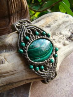 Natural Malachite Gemstone Micro Macrame Bracelet - Hand Made, Eco-friendly, soft and pliable Organic waxed Hemp Cord