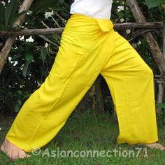 Thai Fisherman Pants Casual Asian Yoga Beach Dance Trouser FREESIZE Rayon YELLOW #Asianconnection71 #ThaiRayonFishermanPants