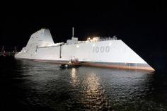 DDG-1000 (PCU Zumwalt) floating out of dry dock at General Dynamics Bath Iron Works shipyard 30 Oct 2013.