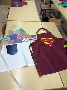 6.luokan essut, joissa ideana kierrätys. Käytetty kotoa ja tekstiililuokasta löytyneitä kankaan jämiä.