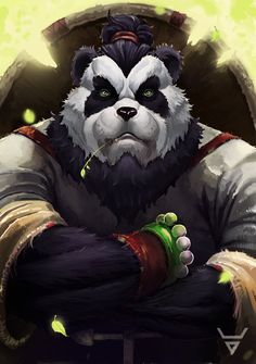 Another Pandaren art commission based on the player's game character and pet with some slight changes/addition to make it more personalized (like the banner and insignia as requested). See the art ...